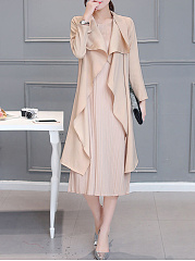 Lapel-Solid-Two-Piece-Long-Dress