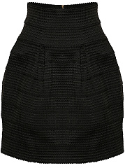 Inverted Pleat Zips Plain Mini Skirt