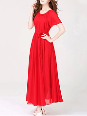 Round Neck Belt Plain Chiffon Maxi Dress