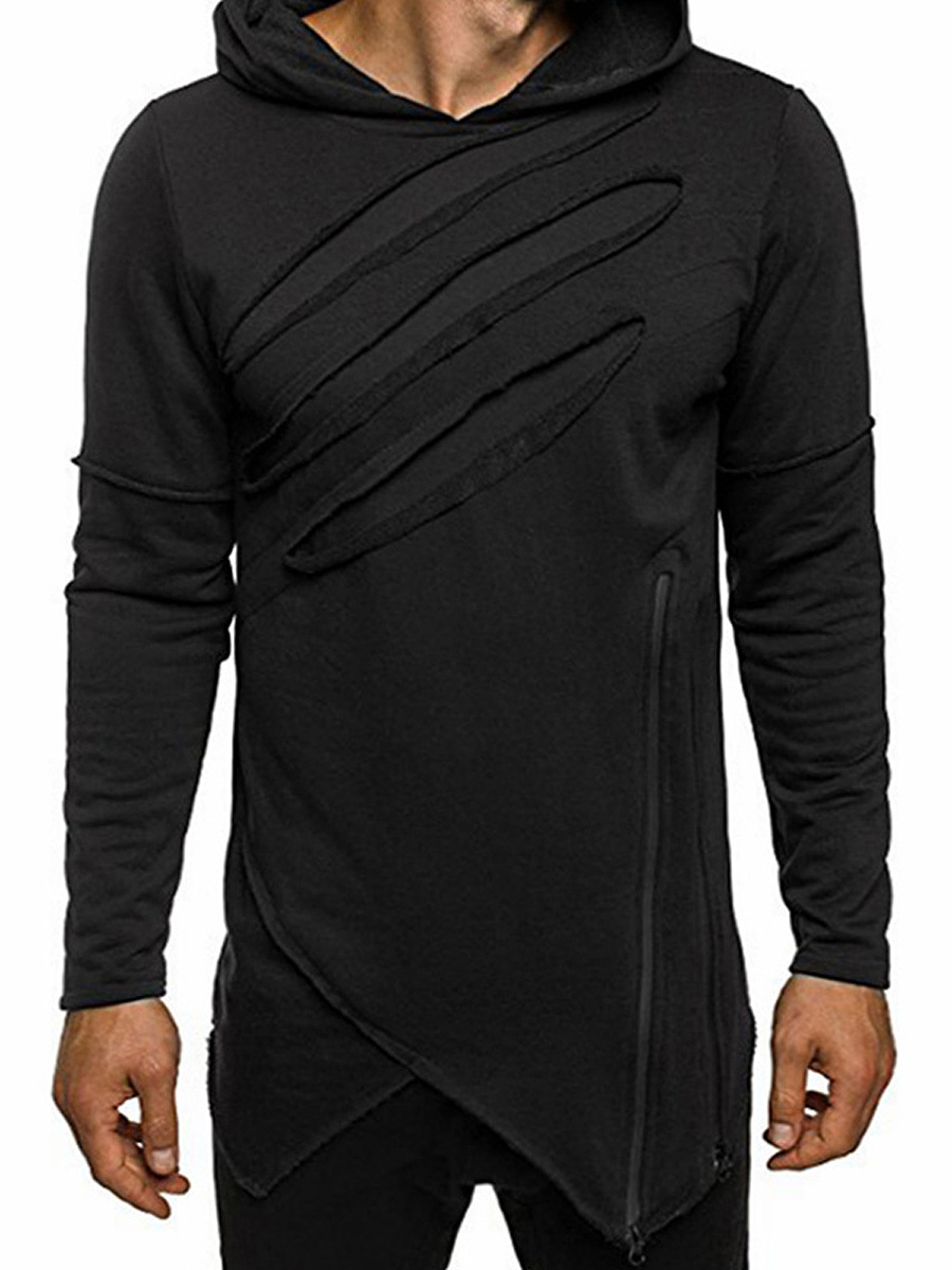 Distressed Asymmetric Hem Men Hoodie