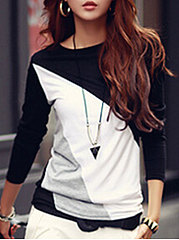 Round Neck  Color Block Long Sleeve T-Shirt