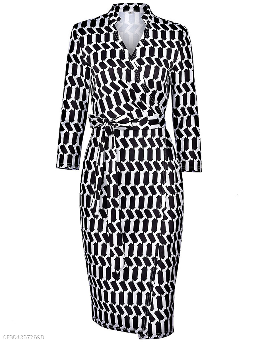Black White Printed V-Neck Bowknot Bodycon Dress