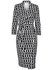 Black-White-Printed-V-Neck-Bowknot-Bodycon-Dress