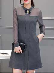 Doll-Collar-See-Through-Plain-Pocket-Shift-Dress