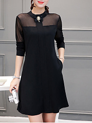 Doll Collar See-Through Plain Pocket Shift Dress