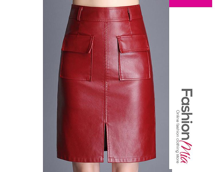 OL Style Cutout Slit  Plain  A-Line Midi PU Skirts