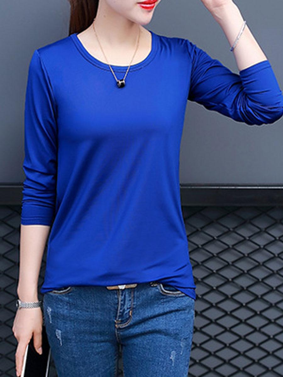 elegant fashion plain basic daily autumn spring t-shirts Autumn Spring  Polyester  Women  Round Neck  Plain Long Sleeve T-Shirts