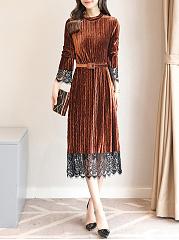 Band-Collar-Velvet-Belt-Hollow-Out-Decorative-Lace-Maxi-Dress