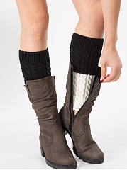 Color Block Knit Thick Leg Warmers