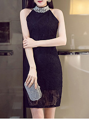 Band Collar Beading Hollow Out Lace Bodycon Dress
