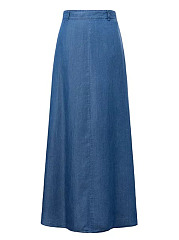 Denim-Pocket-Plain-Flared-Maxi-Skirt
