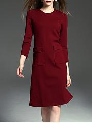 Round-Neck-Flap-Pocket-Belt-Plain-Skater-Dress