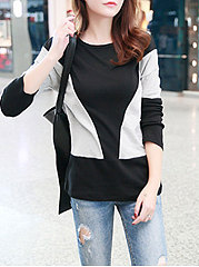 Autumn Spring  Cotton  Women  Round Neck  Patchwork  Geometric Long Sleeve T-Shirts