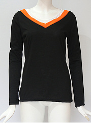 Autumn Spring  Polyester  Women  V-Neck  Contrast Piping  Plain Long Sleeve T-Shirts