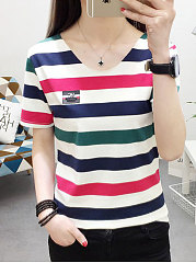 Spring Summer  Cotton  Women  Round Neck  Striped Short Sleeve T-Shirts