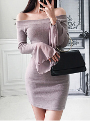 Word Collar  Plain Bodycon Dress