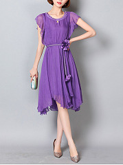 Asymmetric Hem Beading Belt Keyhole Plain Chiffon Maxi Dress