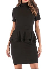 High Neck  Plain Bodycon Dress