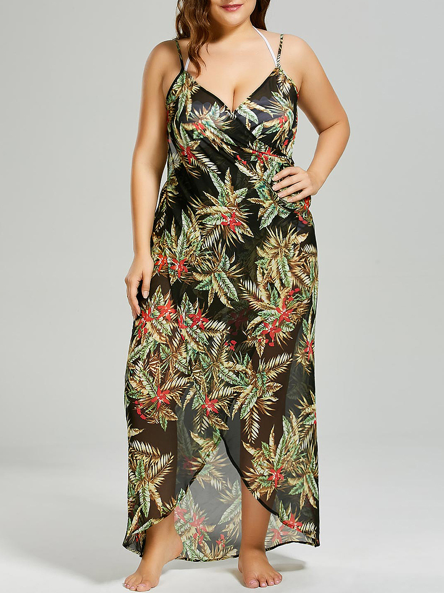 Spaghetti Strap  Abstract Print Plus Size Midi & Maxi Dresses