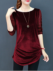 Round Neck  Ruffled Hem  Plain Long Sleeve T-Shirts