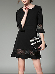 Round-Neck-See-Through-Plain-Flounce-Mini-Shift-Dress
