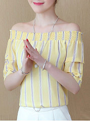 Summer  Polyester  Women  Off Shoulder  Two Way  Striped  Short Sleeve Blouses