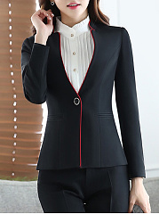 Band Collar Contrast Trim Single Button Blazer