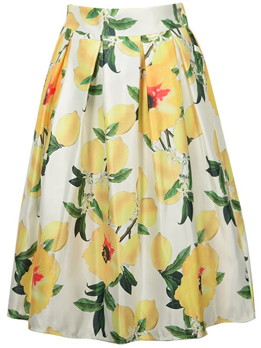 Inverted Pleat Lemon Floral Printed Flared Midi Skirt