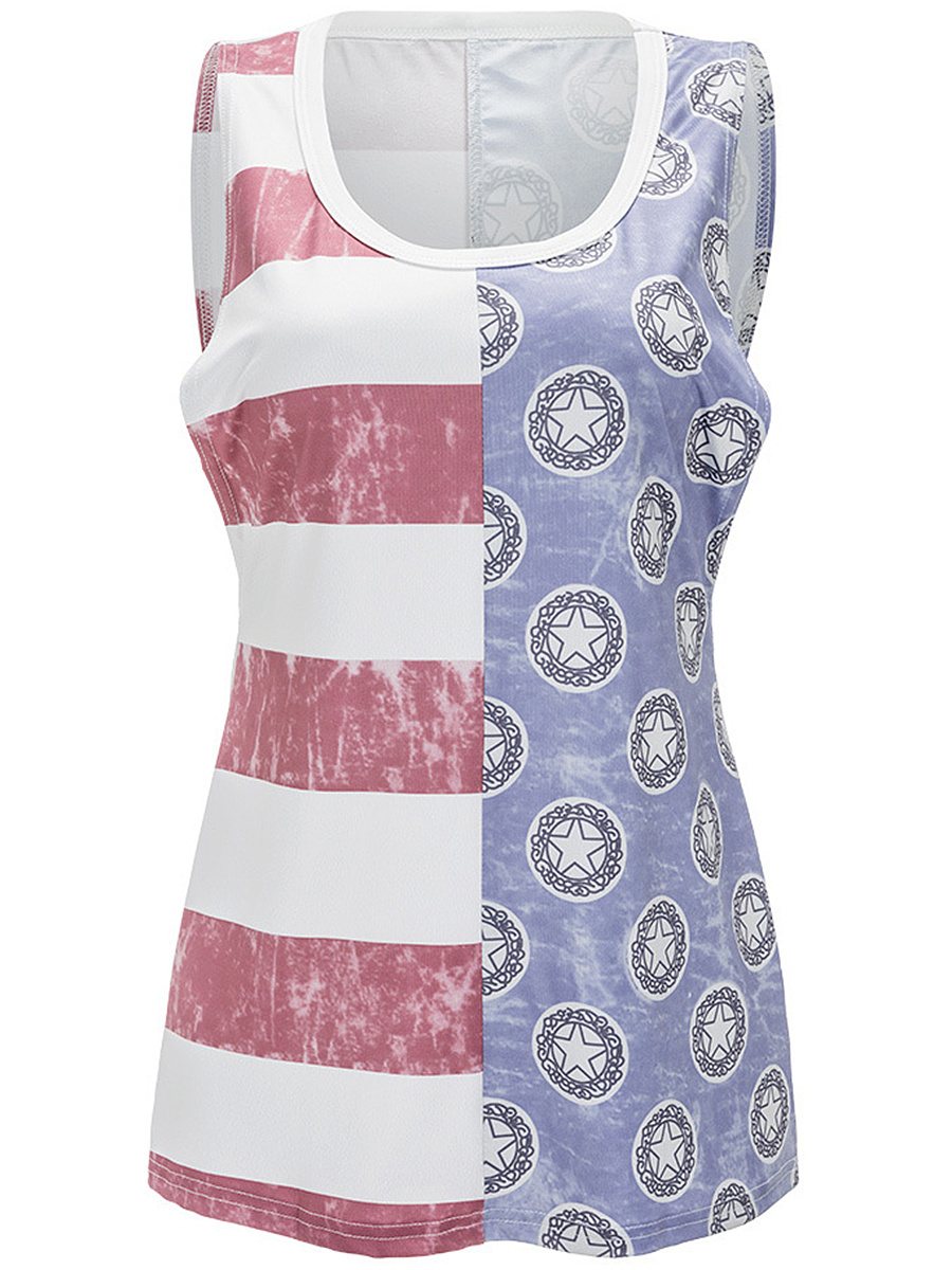 Round Neck Striped Flag Printed Sleeveless T-Shirt