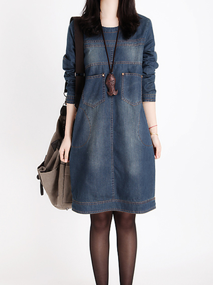 Round Neck Denim Roll-Up Sleeve Shift Dress