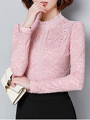 Band-Collar-Decorative-Lace-Lace-Long-Sleeve-Blouses
