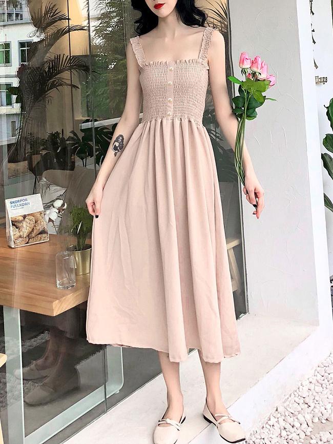 Image of Fashionmia Boat Neck Fashion Plain Maxi Dress