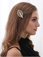 Hollow Out Gold Leaf Hair Clip