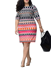 Round Neck  Printed Plus Size Bodycon Dresses