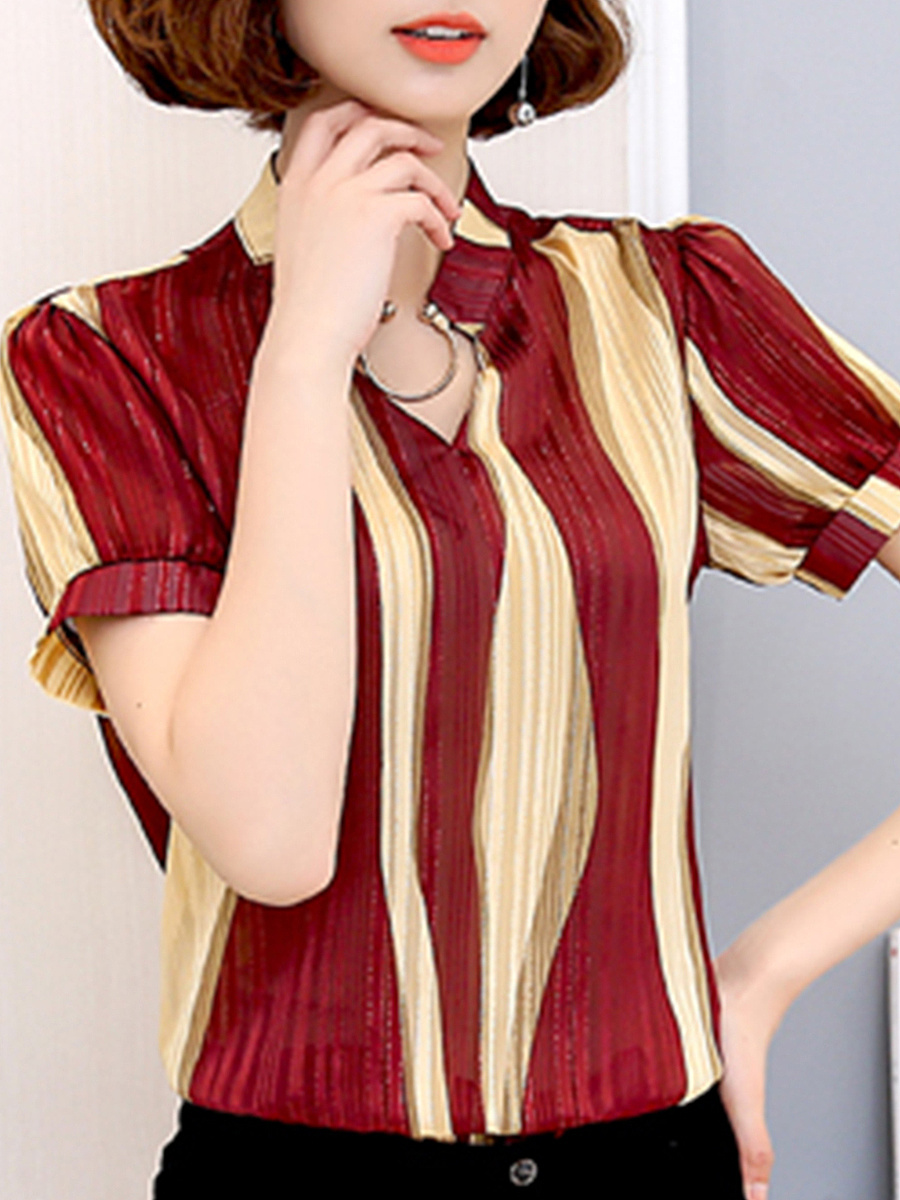 Summer  Polyester  Women  Decorative Button  Color Block  Short Sleeve Blouses