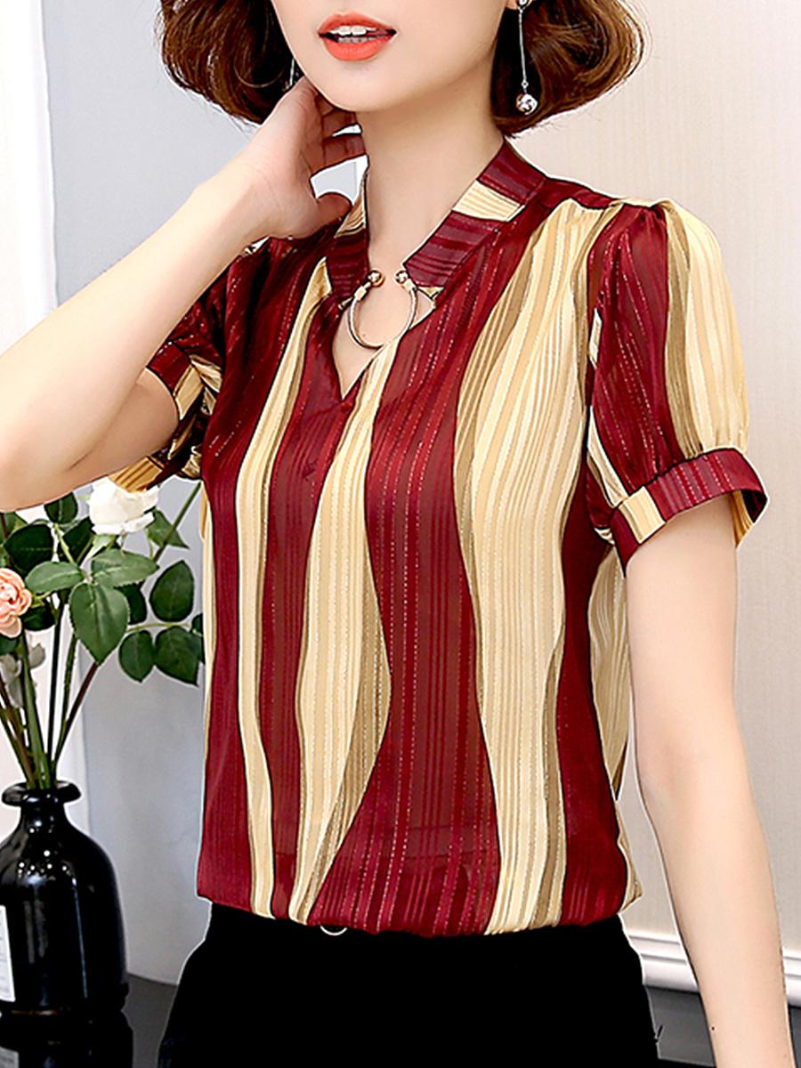 Summer  Polyester  Women  Decorative Button  Color Block  Short Sleeve Blouses