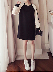 Round Neck  Color Block S Casual Shift Dress