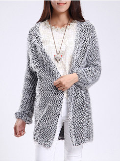 Collarless  Plain  Puff Sleeve  Long Sleeve Cardigans