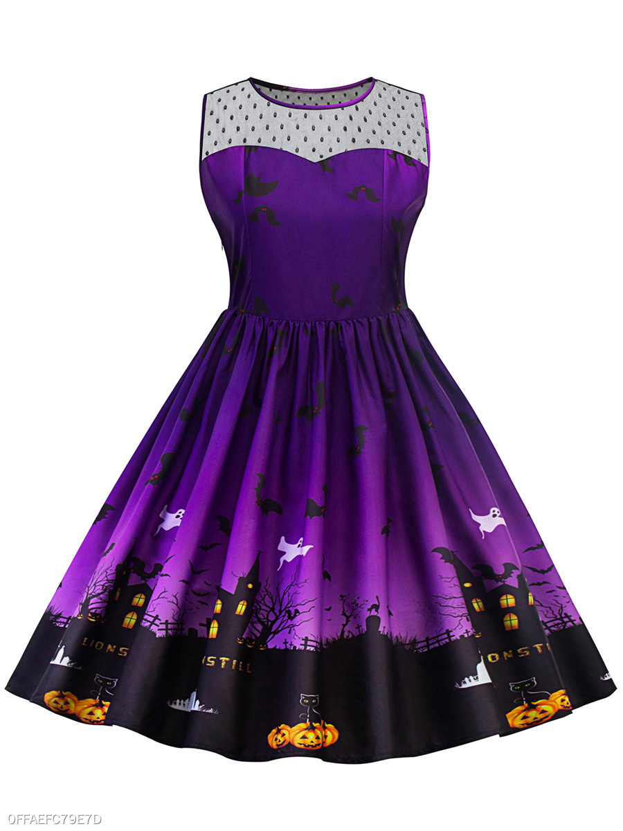 Halloween Printed Round Neck See-Through Plus Size Flared Dress