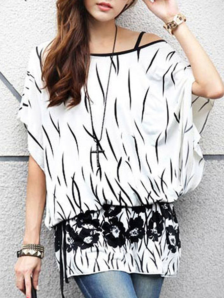 Loose One Shoulder  Printed Blouse