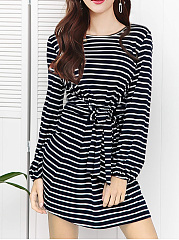Round Neck  Lace-Up  Striped Shift Dress