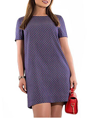 Round Neck  Polka Dot Plus Size Bodycon Dresses