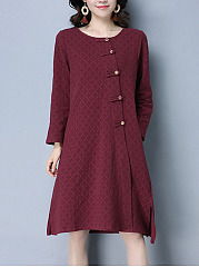 Round Neck Embossed Plain Shift Dress