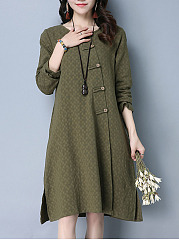Round-Neck-Embossed-Plain-Shift-Dress