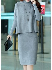 High-Neck-Plain-Batwing-Top-And-Slit-Midi-Skirt