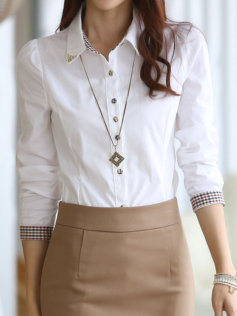 Turn Down Collar Beading Plain Blouse