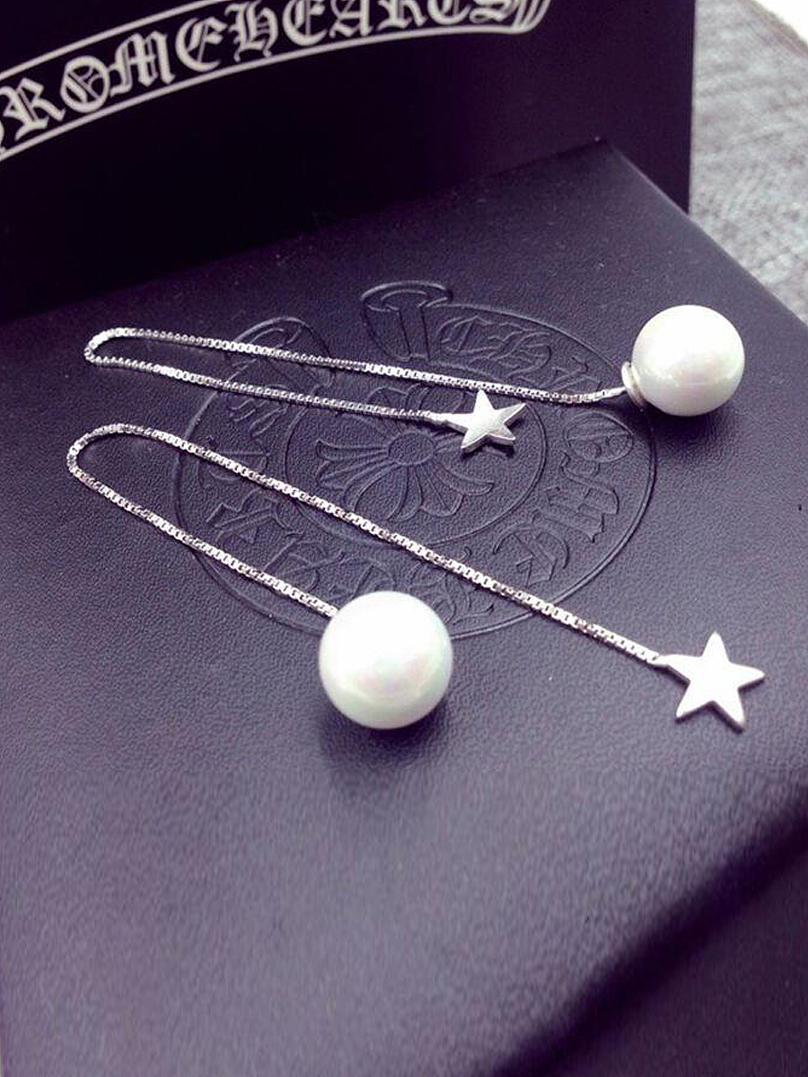 Star And Pearl Simple Wire Earrings