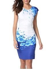 Round-Neck-Floral-Blend-Bodycon-Dress