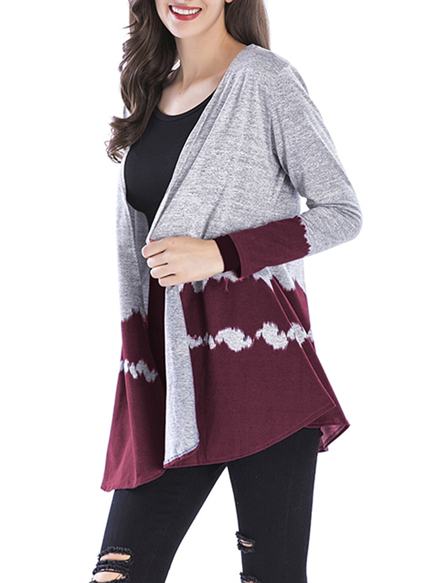 Collarless  Color Block Cardigan