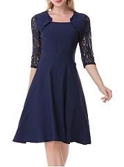 Square-Neck-Patchwork-Plain-Cotton-Skater-Dresses